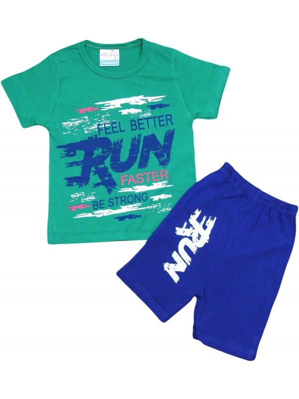 2-3-4-5 yaş run faster baskılı yazlık çocuk giyim yeşil