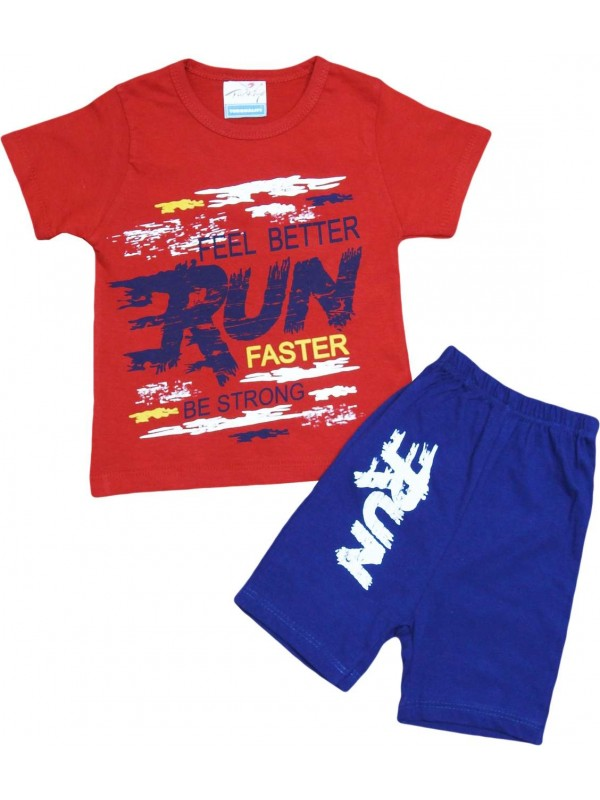 2-3-4-5 age run faster printed summer kids wear red