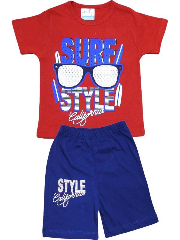 2-3-4-5 yaş class baskılı yazlık toptan çocuk giyim kırmızı