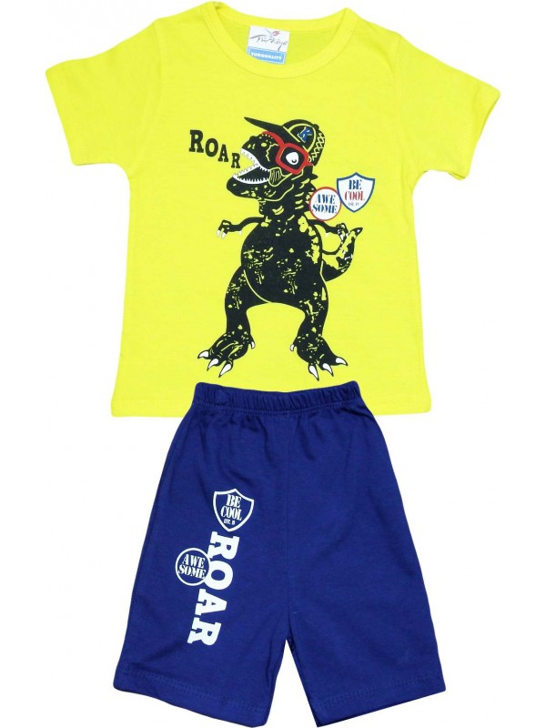 2-3-4-5 age roar printed summer wholesale children's clothing yellow