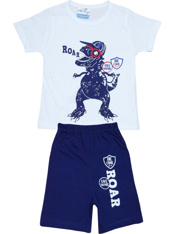 2-3-4-5 age roar printed summer wholesale children's clothing white