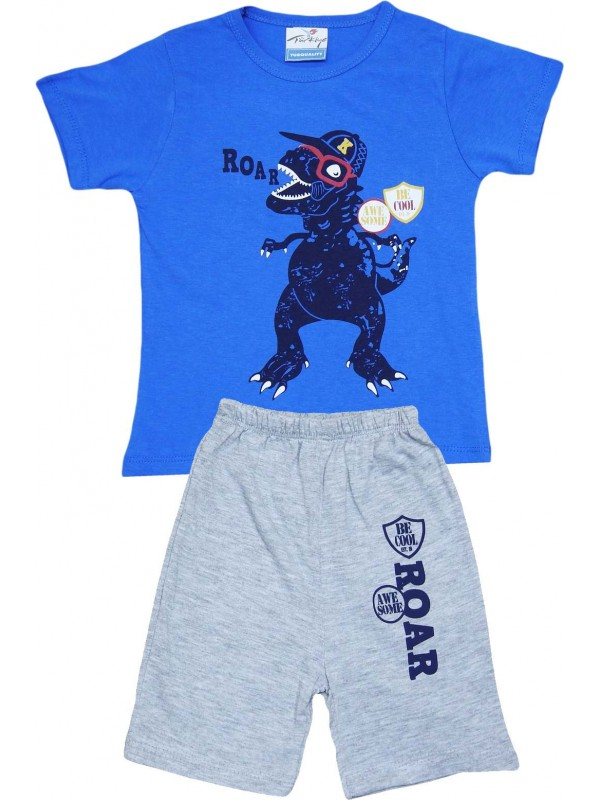 2-3-4-5 age roar printed summer wholesale children's clothing navy blue
