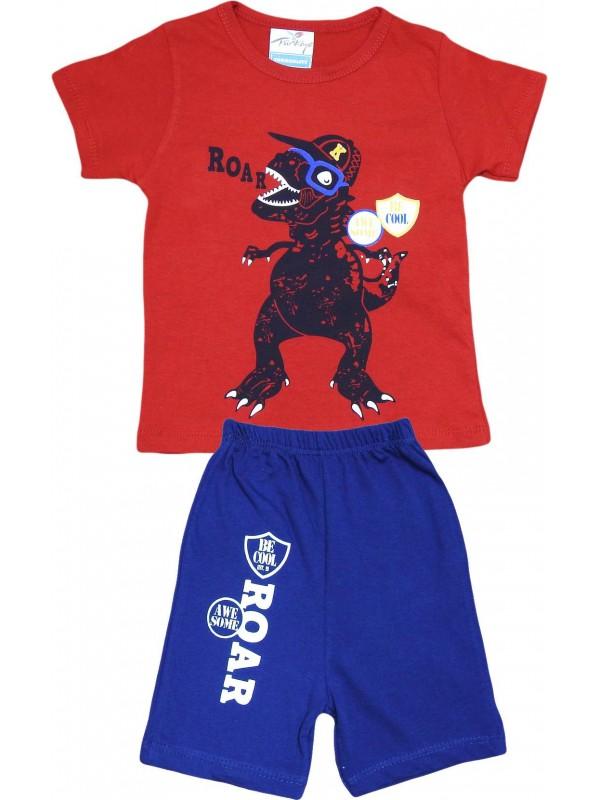 2-3-4-5 лет рев с принтом летняя оптовая детская одежда красный