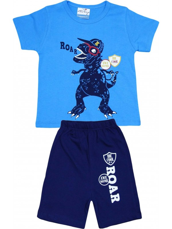 2-3-4-5 age roar printed summer wholesale children's clothing blue