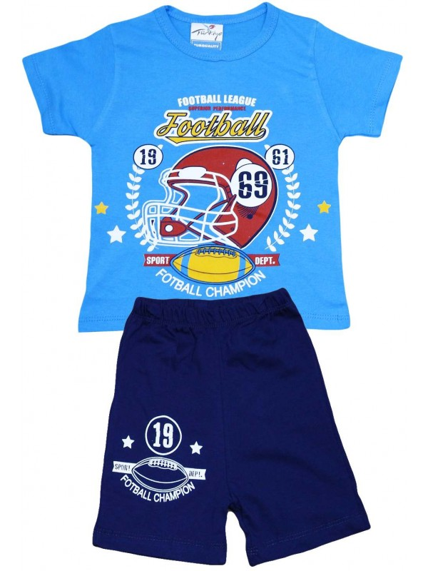 2-3-4-5 age football printed summer wholesale children's clothing blue