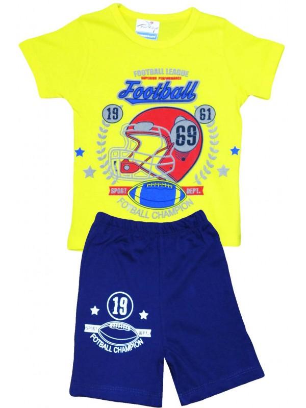 2-3-4-5 yaş futbol baskılı yazlık toptan çocuk giyim sarı