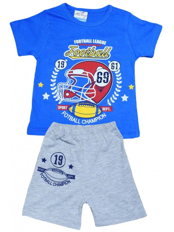 2-3-4-5 age football printed summer wholesale children's clothing navy blue
