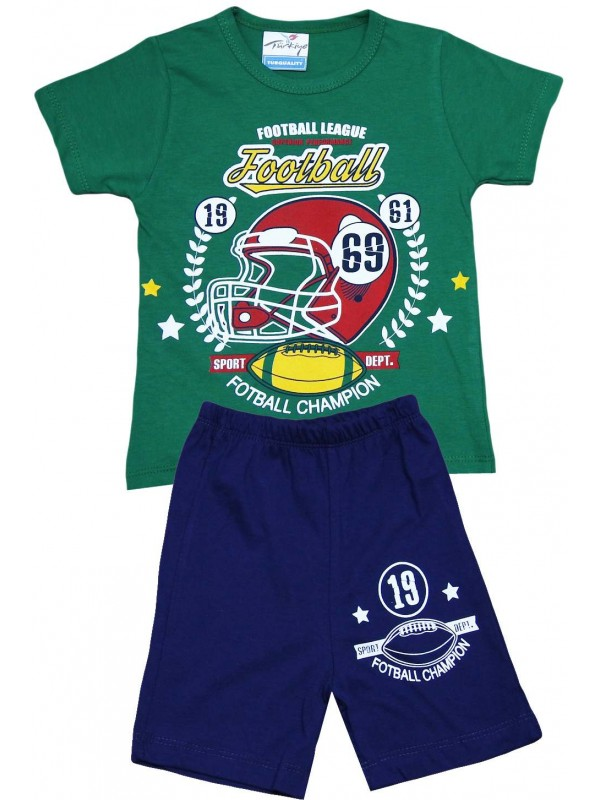 2-3-4-5 age football printed summer wholesale children's clothing green