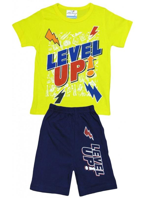 2-3-4-5 лет - летняя детская одежда с принтом оптом желтого цвета