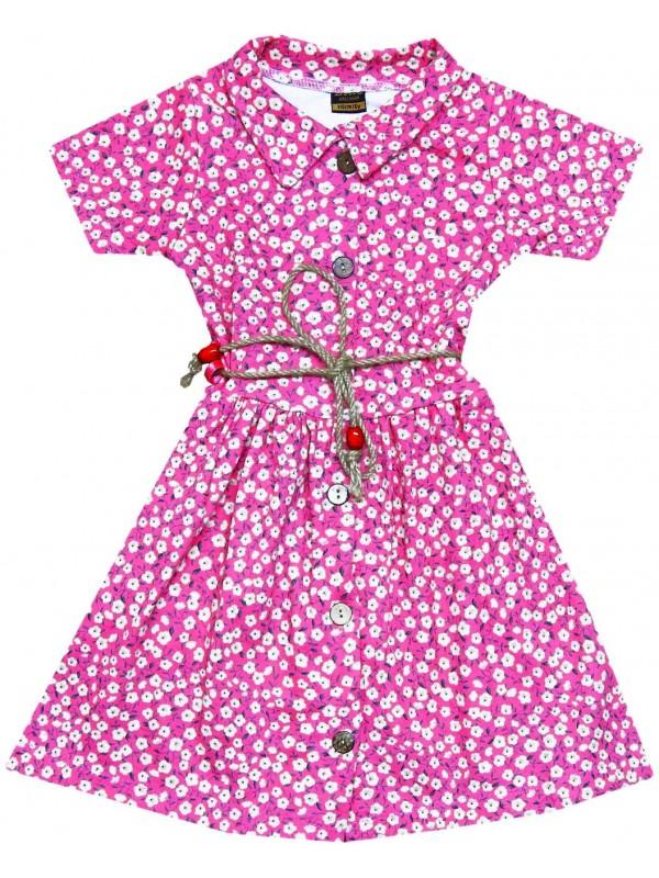 6-7-8-9 yaş toptan kız elbise çiçek baskılı fuşya