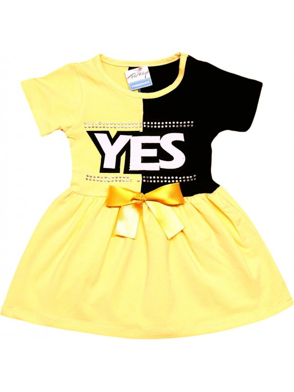 2-3-4-5 age yes printed summer girl dress yellow