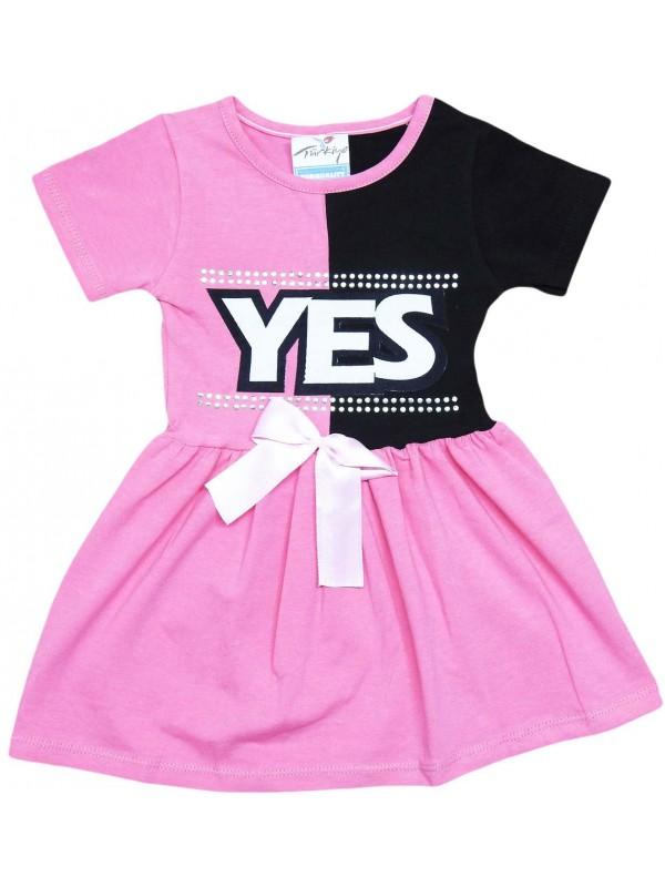 2-3-4-5 yaşında evet baskılı yazlık kız elbise fuşya