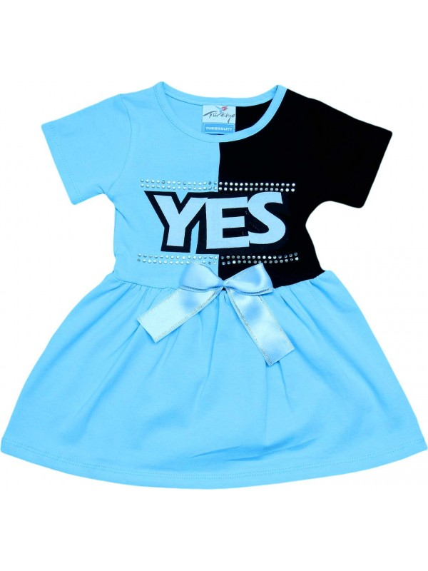 2-3-4-5 age yes printed summer girl dress blue