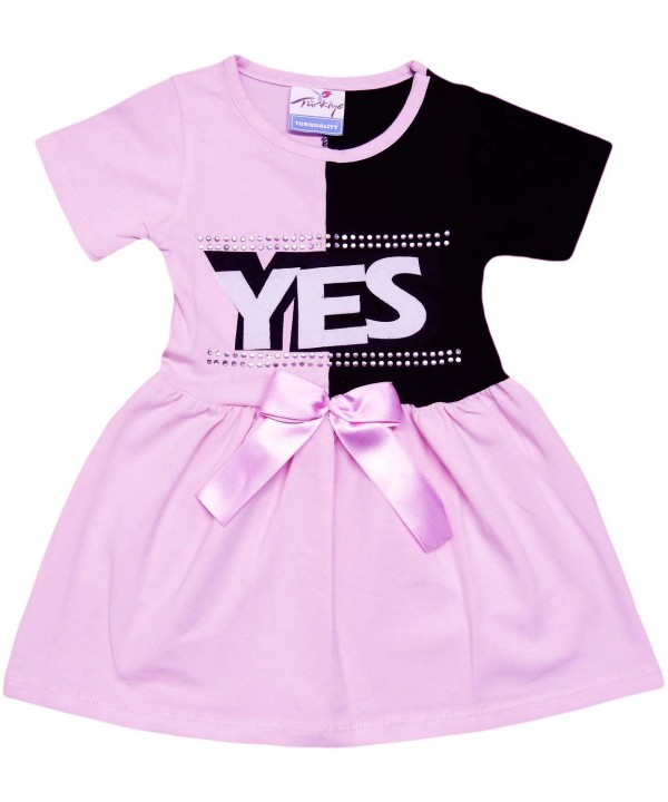 2-3-4-5 age yes printed summer girl dress pink