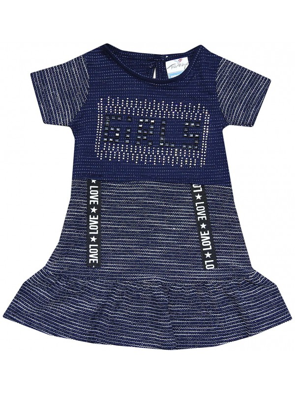 2-3-4-5 age love girl printed summer girl dress navy blue