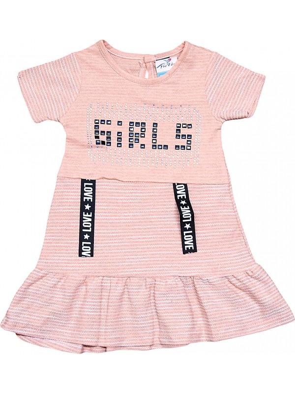 2-3-4-5 age love girl printed summer girl dress pink