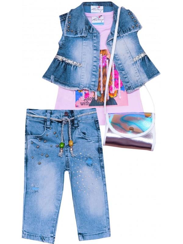2-3-4-5 age girls denim suit model 2