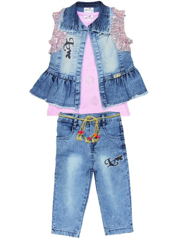6-7-8-9 years old girls denim suit model 4
