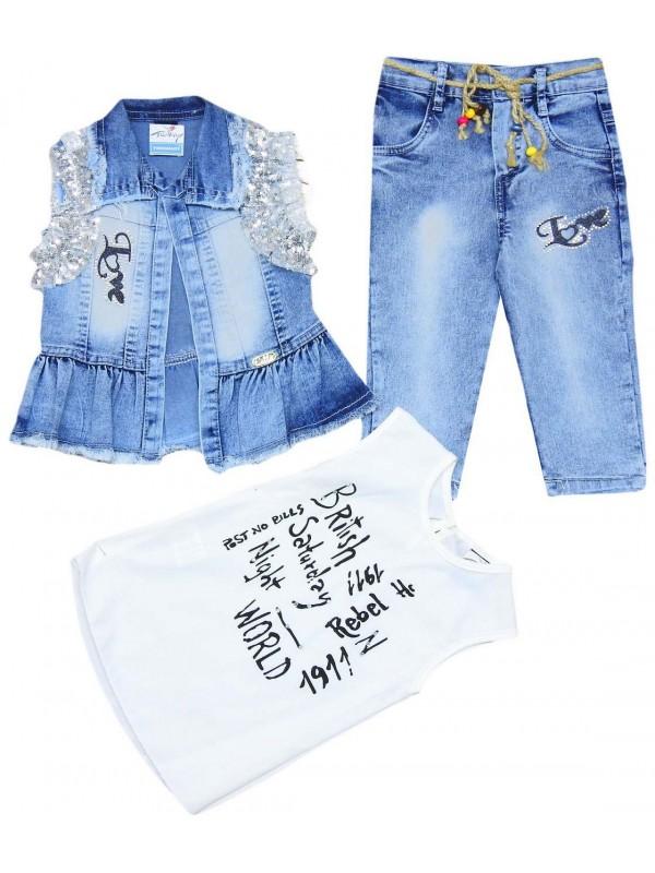 Джинсовый костюм для девочек 6-7-8-9 лет модель 5