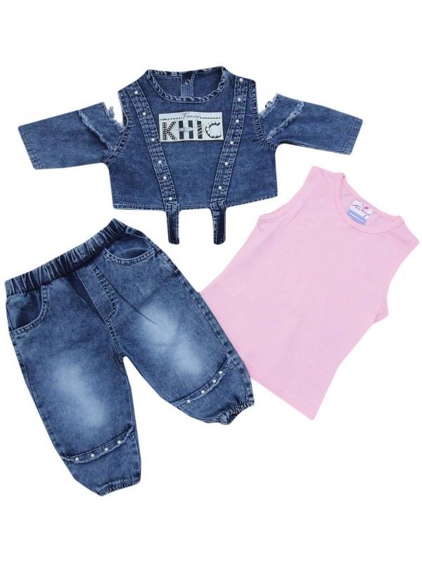Джинсовый костюм для девочек 2-3-4-5 лет модель 6
