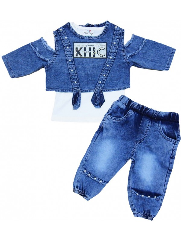 2-3-4-5 age girls denim suit model 7