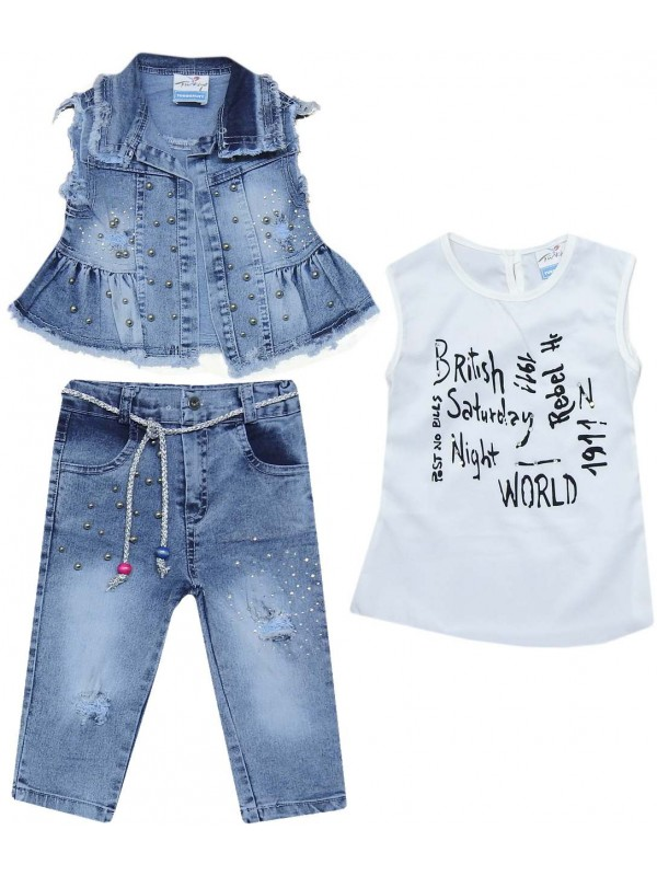 6-7-8-9 years old girls denim suit model 8