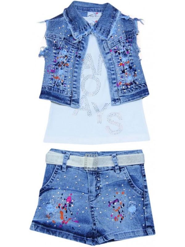 Джинсовый костюм для девочек 2-3-4-5 лет модель 10