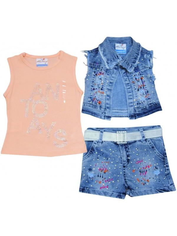 Джинсовый костюм для девочек 2-3-4-5 лет модель 9