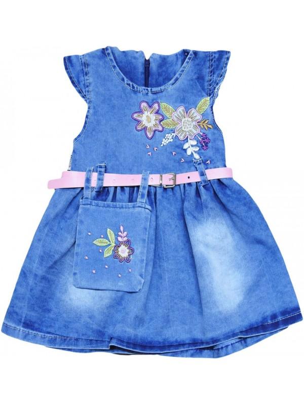 1-2-3-4 age girls denim gilet dress wholesale Ma