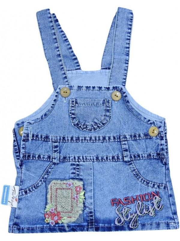 Платье-жилет из денима для девочек 1-2-3-4 лет оптом Mb