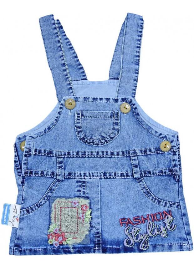 1-2-3-4 age girls denim gilet dress wholesale Mb