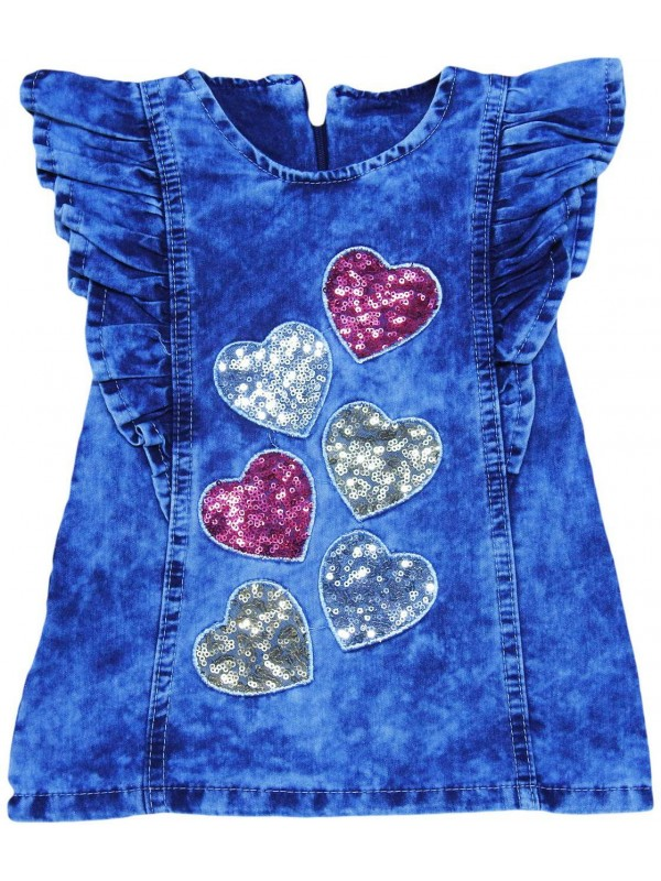 1-2-3-4 age girls denim gilet dress wholesale Mc
