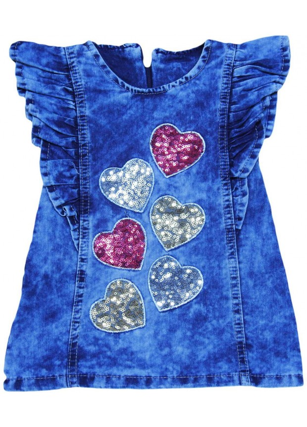 1-2-3-4 age girls denim gilet dress wholesale Mc