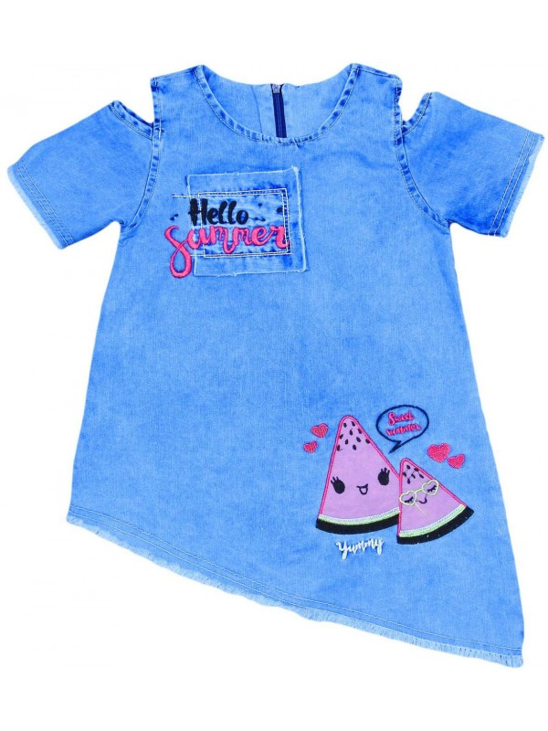 3-4-5-6 yaş kız çocuk kot jile elbise toptan Gb
