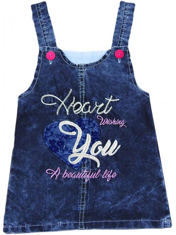 Джинсовое платье-жилет для девочек 1-2-3-4 лет оптом Mh