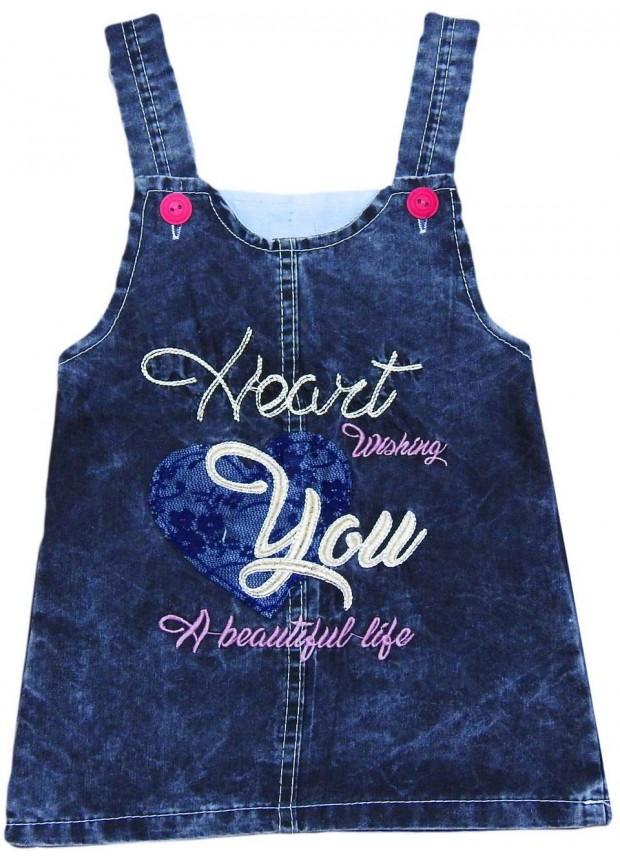 1-2-3-4 age girls denim gilet dress wholesale Mh