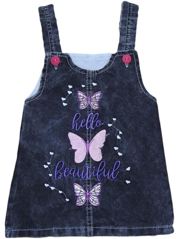 Джинсовое платье-жилет для девочек 1-2-3-4 лет оптом Mi