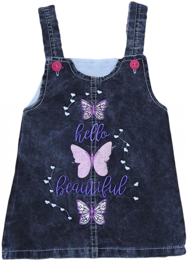 1-2-3-4 age girls denim gilet dress wholesale Mi