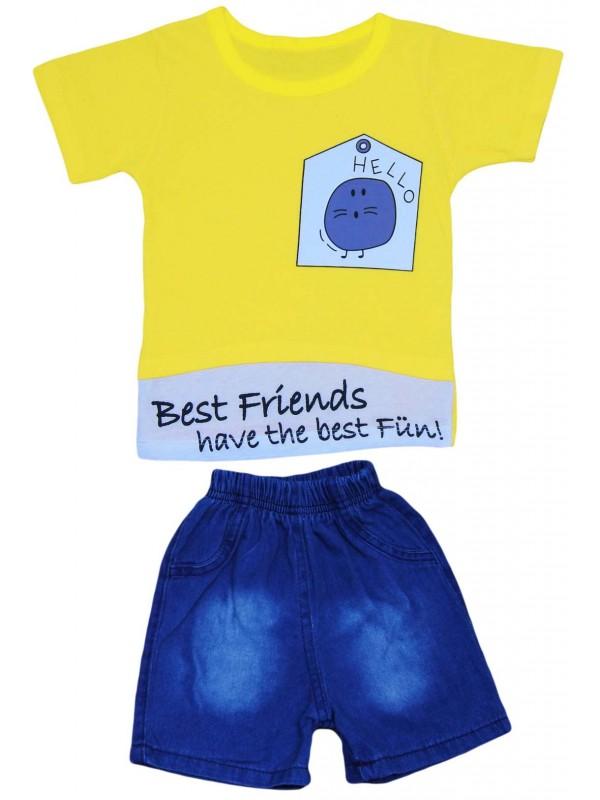2-3-4-5 yaş yazlık erkek kot kapri tişört takım sarı