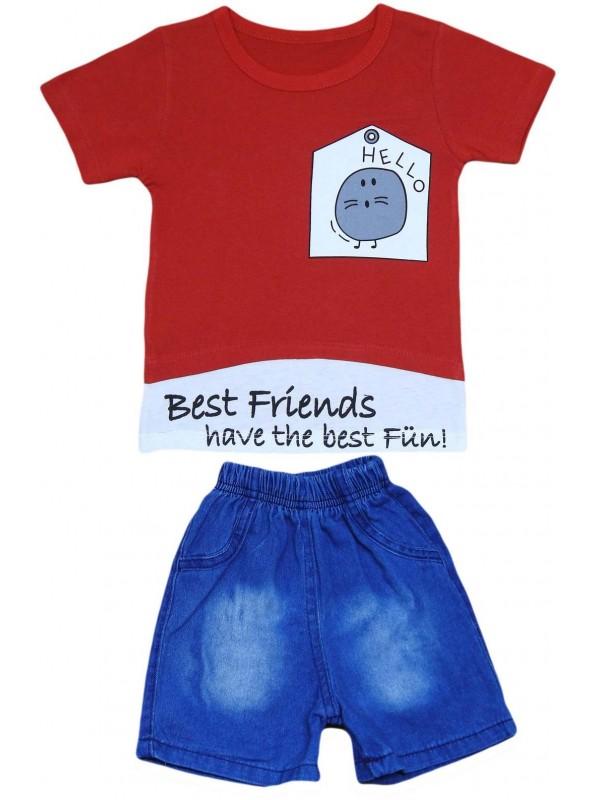 Летний мужской джинсовый капри костюм с футболкой на 2-3-4-5 лет красный