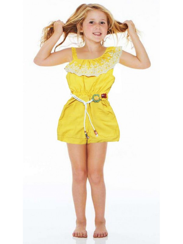 4-5-6 age summer wonderful girls dress wholesale yellow color