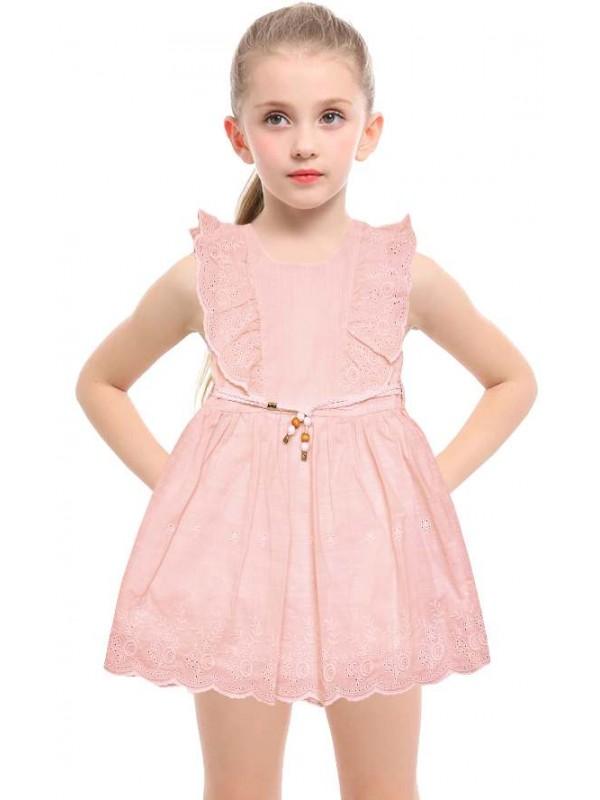 1-2-3 yaş yazlık dantelli kız çocuk elbise toptan model-b