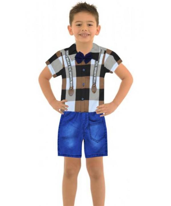 Летняя рубашка для мальчика 1-2-3 лет джинсовый капри костюм Ма
