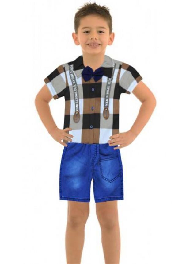1-2-3 age boy summer shirt denim capri suit Ma