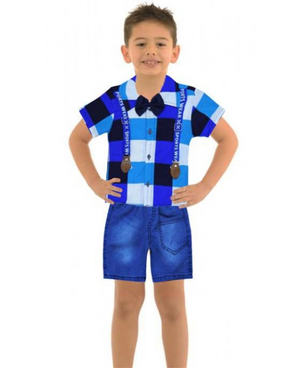 1-2-3 years old boy summer shirt denim capri suit Mb
