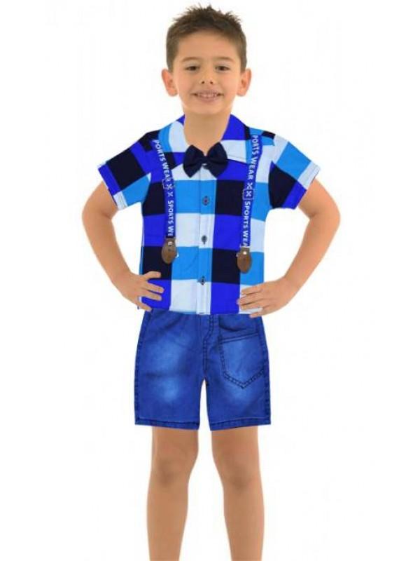 1-2-3 yaş erkek çocuk yazlık gömlek kot kapri takım Mb