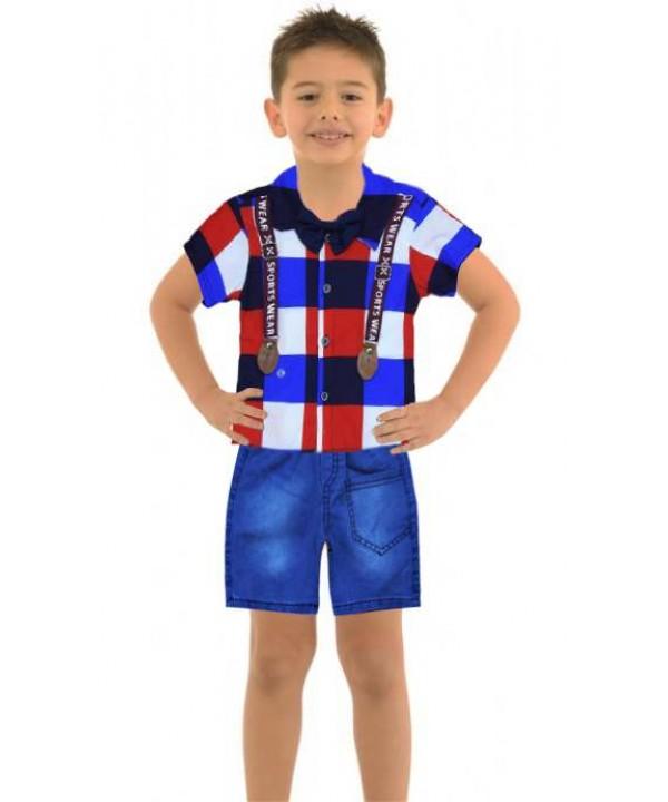 Летняя рубашка для мальчика 1-2-3 лет джинсовый капри костюм Mc