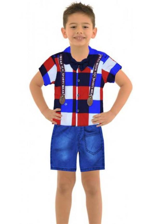1-2-3 age boy summer shirt denim capri suit Mc