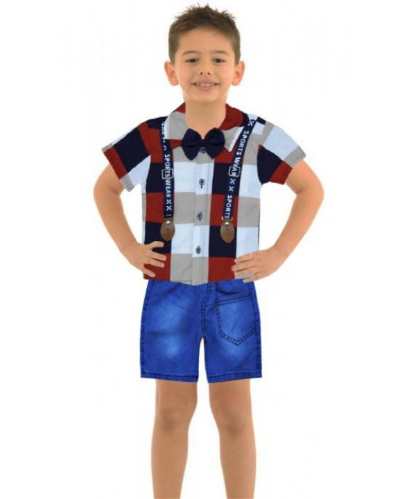1-2-3 age boy summer shirt denim capri suit Md