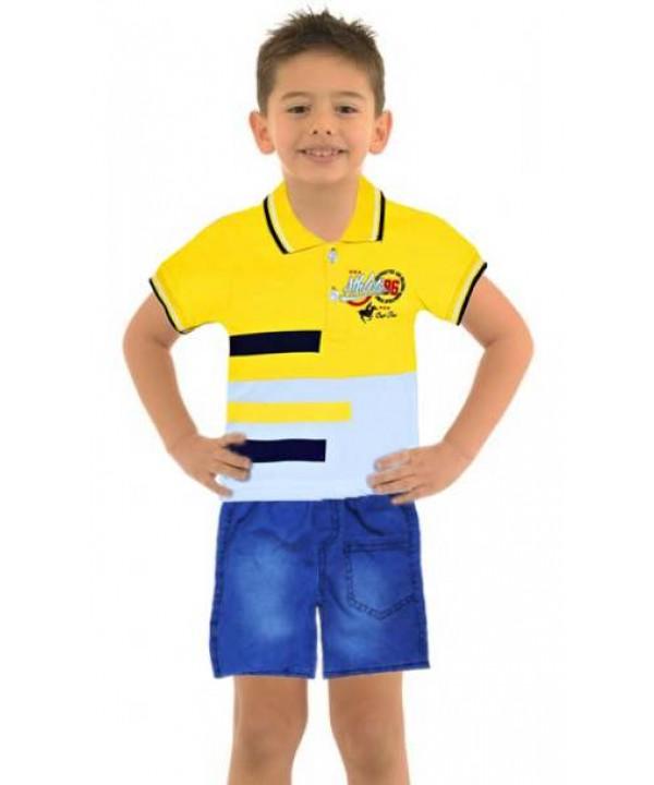 Летняя рубашка для мальчиков 1-2-3 лет джинсовый капри костюм Mf